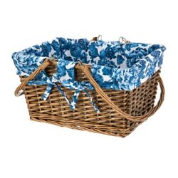 Pioneer Woman Summer Blue Floral Willow Woven Basket
