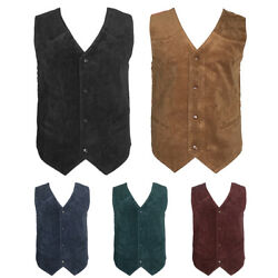 Men's Vest Soft Suede 4 Snap Closure Front Pockets Casual Western Sleeveless Top