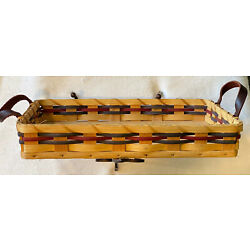 Amish 16'' Brown Reed Hard Wood Bottom Cake Carrier Basket with Leather Handles