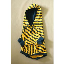 OLD NAVY Dog Supply Co  Sz S Hooded Sweater Jumper Striped Blue Yellow EUC