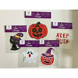 Lot of 5 Halloween gel clings party classroom  decor trick or treat ghost cat