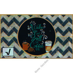 WAKE UP AND SMELL THE COFFEE Foil Backsplash Decal 17.7 x 29.5'' Peel Stick