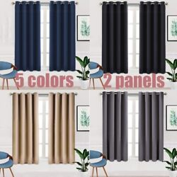 2 Panels Blackout Curtains for Bedroom Grommet Thermal Insulated Room 52