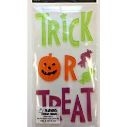 Halloween TRICK OR TREAT Window Gel Stickers Cling Decor classroom candy