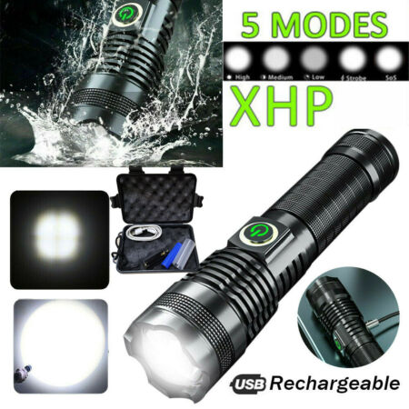 img-Ultra Bright Zoomable LED Torch High Light Rechargeable Military USB Flashlight
