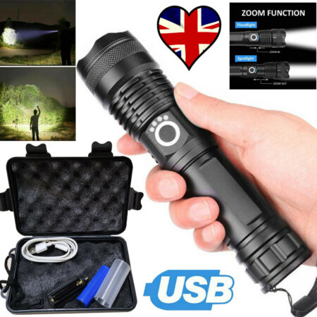 img-Ultra Bright LED Torch High Light Rechargeable 990000LM Military USB Flashlight