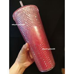 Starbucks China 2021 Tumbler Gradient Pink Studded 24oz Straw Cold Cup