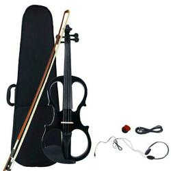 Electric Silent Violin Fiddle 4/4 Size & Free Case Bow Rosin Headphone Black