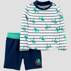 Toddler Boys' Frog Stripe Swim Rash Guard Set Just One You by carter's Blue 5T