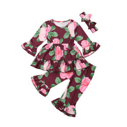 3PCS Outfit Set,Long Sleeve Floral Ruffle Round Neck Top, Long Flared Hem Pant