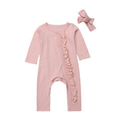 US 0-24M Toddler Infant Baby Girl Long Sleeve Romper Jumpsuit Clothes Outfits