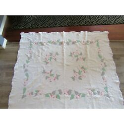 VINTAGE FLOWERS APPLIQUE & EMBROIDERY  ALL COTTON FABRIC