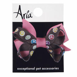 Dog Puppy Grooming Bow Barrette - Peace Sign - Aria - Set of 2