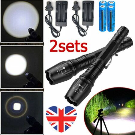 img-2PCS 990000LM LED Flashlight Tactical Rechargeable Military Camping Torch Light