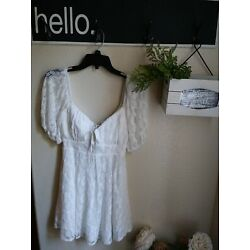 Here Comes The Sun Floral Lace Peasant Dress Puff Sleeves Built-in bra Size XS