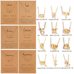 12 Horoscope Zodiac Sign Gold Silver Pendant Necklace Gifts Fashion Jewelry