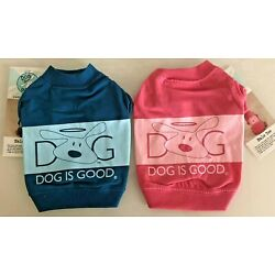 Dog Puppy Shirt - Dog Is Good Halo Summer Tee - Pink or Blue - L XL
