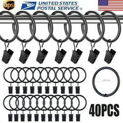 40 Pack 1.26'' Metal Drapery Window Curtain Rings With Clips Shower Curtain Rings