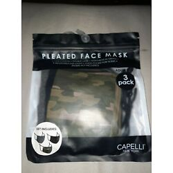 Capelli New York Pleated Face Mask 3 Pk.