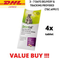 New BAYER Dog Tasty Bone Tablets Dewormer Treatment for Dogs Puppies - 4 Tablet!