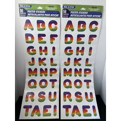 NEW Rainbow Peel & Stick Poster Stickers - 56 characters Per Pack (Two Sets) 112