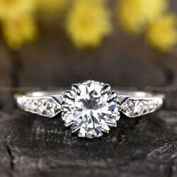 Round Cut Moissanite Solitaire Engagement Ring 2 CT Solid 14K White Gold VVS1