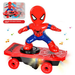 Spiderman Tumbler Toy +Light Music Electric  Scooter Skateboard Kids Xmas Gift