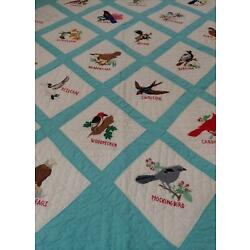Amazing Hand Embroidery! Vintage Birds QUILT 65x56  Cottage Home