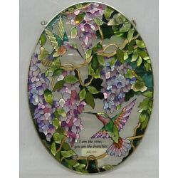 Amia I Am The Vine 6704 Large Oval Suncatcher , 6-1/2-Inch W by 9-Inch L,