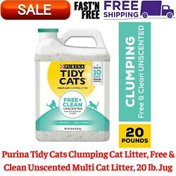 Tidy Cats Clumping Cat Litter, Free, Clean Unscented Multi Cat Litter, 20 lb.