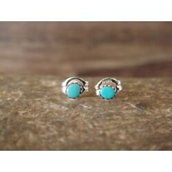 Zuni Indian Sterling Silver Turquoise Micro Dot Post Earrings