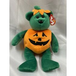 Ty Beanie Baby Tricky The Pumpkin Bear Halloween Plush Toy New - Free Shipping