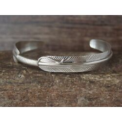 Native American Navajo Indian Hand Stamped  Sterling Silver Feather Bracelet ...