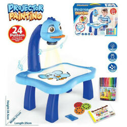 Projector Led painting Table Children Toys Kids drawing Board Desk With Light