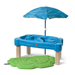 Step2 Cascading Cove Sand and Water Kids Sensory Play Table with Umbrella, Blue
