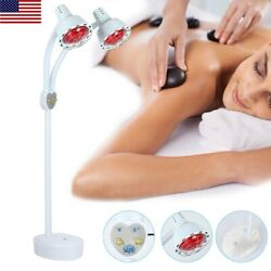 Adjustable Double Head Infrared Light Heating Therapy Floor Stand Beauty Lamp US