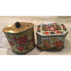 VINTAGE LOT OF 2 TINS ENGLAND AND WEST GERMANY FLORAL BUTTERFLIES COURTING COUPL