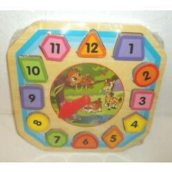 First Learning Wooden Clock w/Shape Sorter-Ages 3+ Jungle Animals