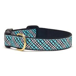 Dog Puppy Design Collar - Up Country - Made In USA - Aqua Blue Plaid - XS