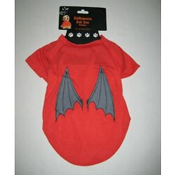 Sz M (14-16 Inches) Red Bat Wings Halloween Dog Doggie Tee T~Shirt *New W/Tags*