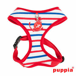 Dog Puppy Soft Harness - Puppia - Capitane Anchor - Red - Small & Medium Dogs