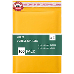 Sales4Less #2 8.5X12 Inches Kraft Bubble Mailers Shipping Padded Envelopes Pack