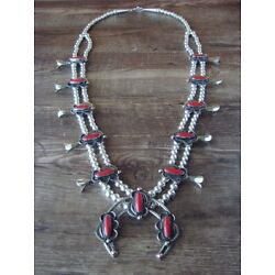 Navajo Nickel Silver Coral Squash Blossom Necklace by Bobby Cleveland