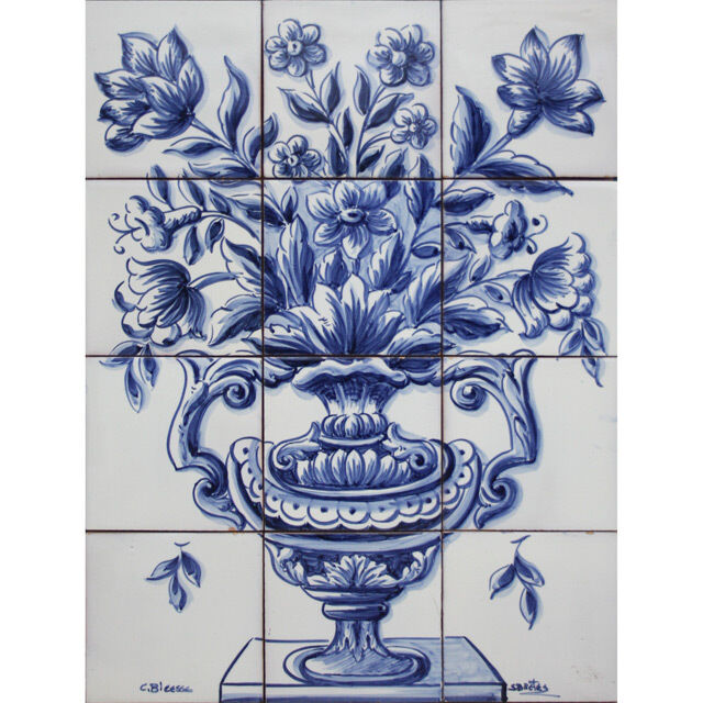Portuguese tiles panel mural delft blue flowers vase ebay for Delft tile mural