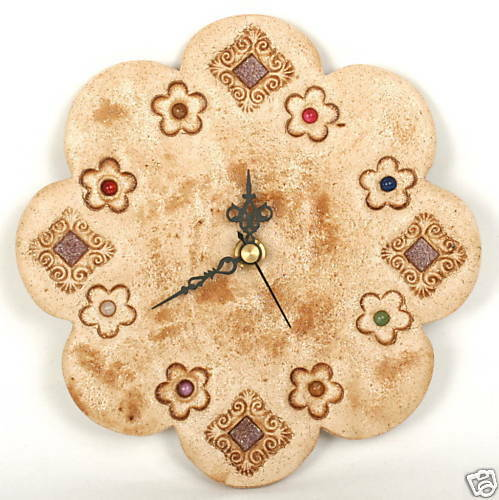 Ceramic Stones Made : Designer flower wall clock home decor hand made of