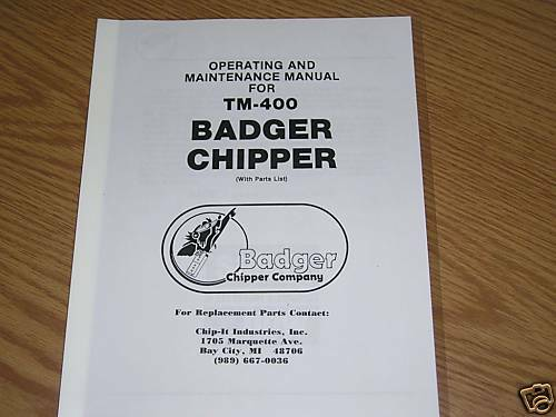 Owners Manual Badger Chipper Woodchipper Parts Info Ebay