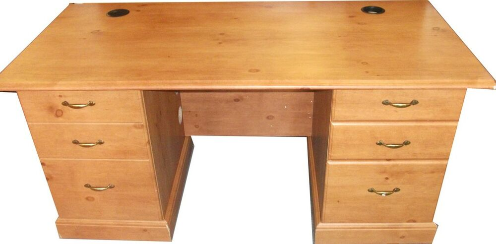 Antique Pine Colour O 39 Sullivan Desk With 2 Drawers And Cupboard Ebay