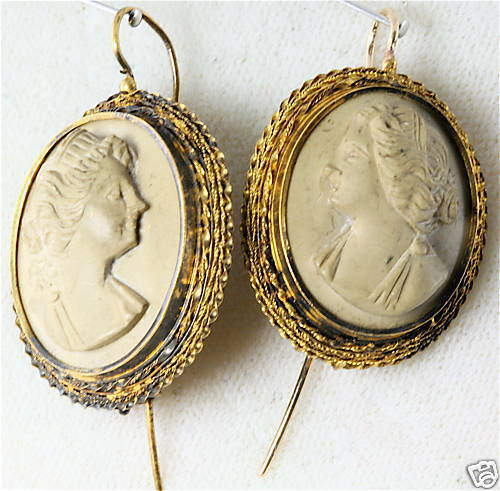 Victorian Antique 14k Gold Large Lava Cameo Earrings Ebay