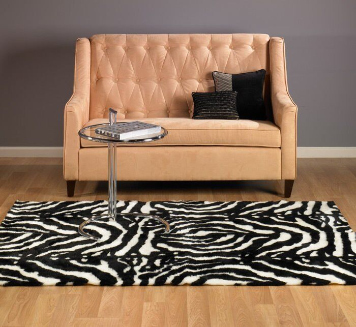 ABSTRACT CONTEMPORARY FAUX FUR ZEBRA RUG 5x7 NEW