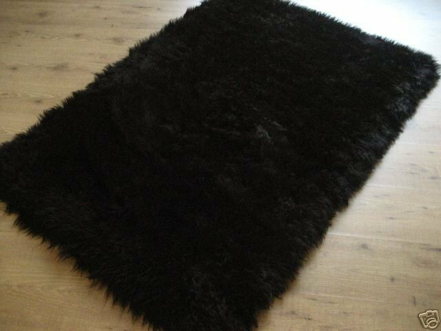 black faux fur rug rectangular black faux fur flokati rug 3x5 new ebay 4669